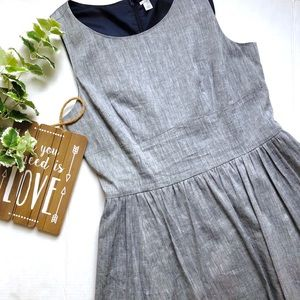 Halogen Swing Dress Linen Chambray Pleated Gray 14